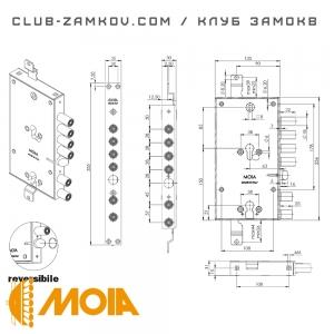 Схема врезного замка MOIA 7654/280DFB/S2